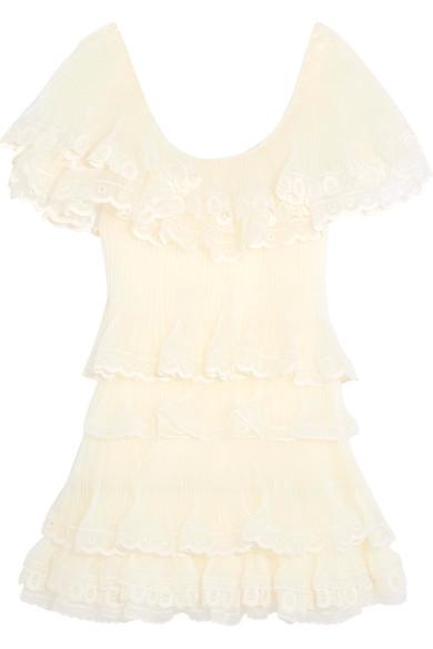 chlo tiered pliss silkorganza mini dress