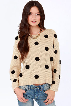 Cute Polka Dot Sweater - Beige Sweater - Knit Sweater - $46.00