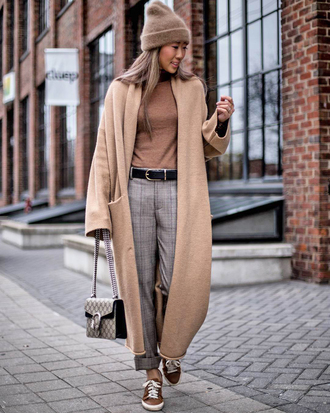 coat tumblr camel camel coat camel long coat long coat pants grey pants sneakers top nude top beanie all nude everything
