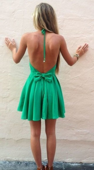 dress halter dress green dress backless dress clothes green summer cute dress summer dress dress with bow