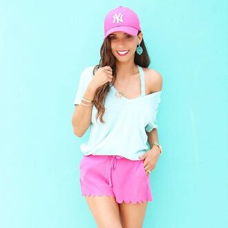 blouse top shirt shorts pink light blue turquoise aqua hat ball cap baseball hat camisole blogger off the shoulder t-shirt scalloped scalloped shorts hot pink neon yankees