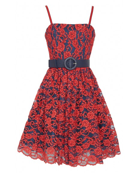Sia flower poof dress with navy belt