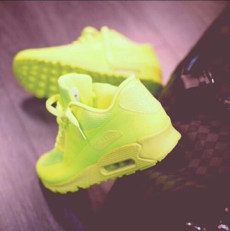 shoes neon yellow nike air max 90
