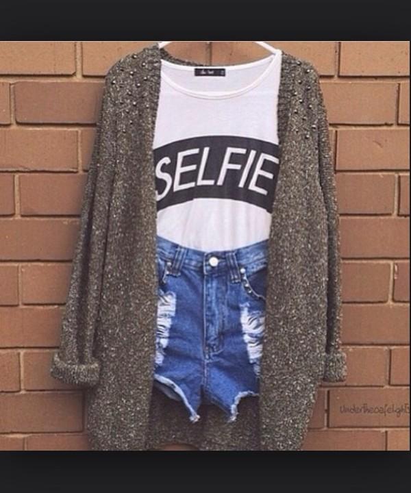 top selfie top white black girly shorts tank top cardigan jeans tumblr cute