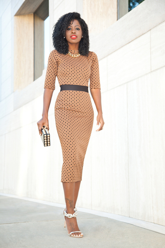 blogger midi dress bodycon dress polka dots classy dress office outfits