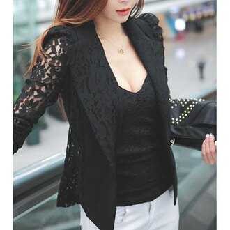 jacket blazer black lace lace blazer black blazer classy business casual office outfits streetstyle asian streetwear casual lace top