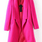 Lapel long sleeve woolen rose red coat