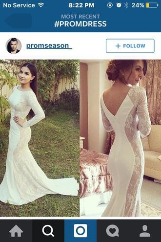 dress prom dress white dress long sleeve dress