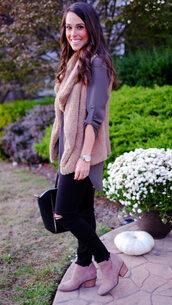 mrscasual,blogger,jacket,jeans,shoes,bag,jewels,vest,faux fur vest,ankle boots,beige fur vest