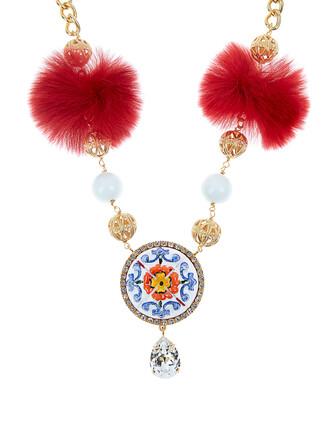 fur embellished necklace red jewels