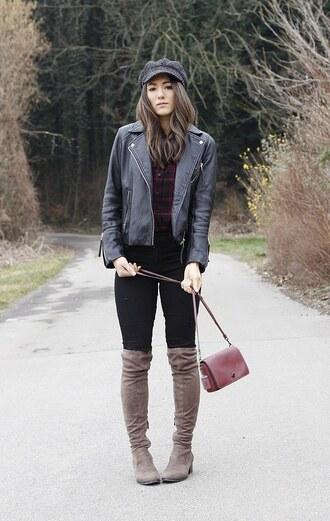 seekingsunshine blogger hat jacket shirt jeans shoes bag make-up boots fisherman cap black leather jacket pink bag winter outfits