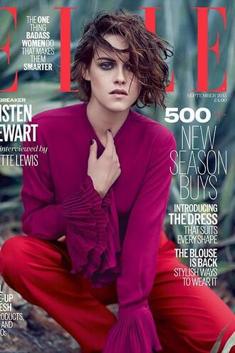 blouse pants editorial kristen stewart red pants