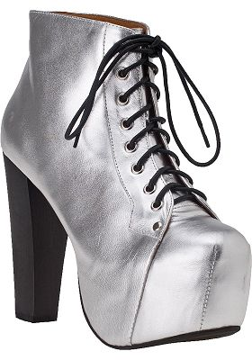 Jeffrey campbell lita platform bootie silver leather