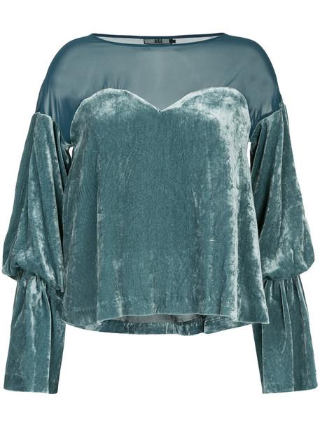 Aula top velvet top mesh women silk velvet green