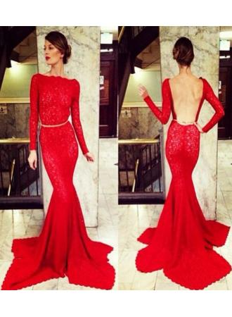 Discount 2014 new arrival prom dresses long sleeve sheer lace backless mermaid high neck bateau court train party gowns bo3587  on sale at weddingdressyes.com