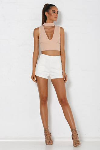 top choker top nude blush pink crop tops plunge v neck