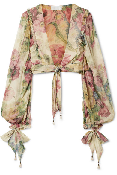Zimmermann - Melody cropped tie-front floral-print silk-crepon top