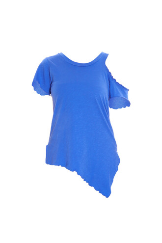 t-shirt shirt cut-out blue top