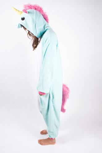 jumpsuit onesie unicorn bleu pink pyjamas.