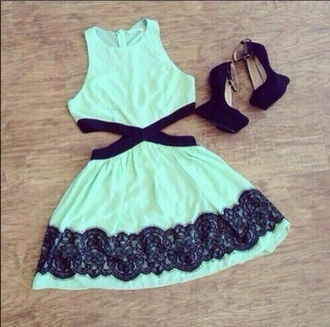 dress mint dress lace dress cut-out dress