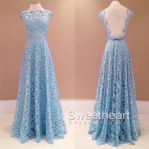 Pretty lace long prom dresses, bridesmaid dresses