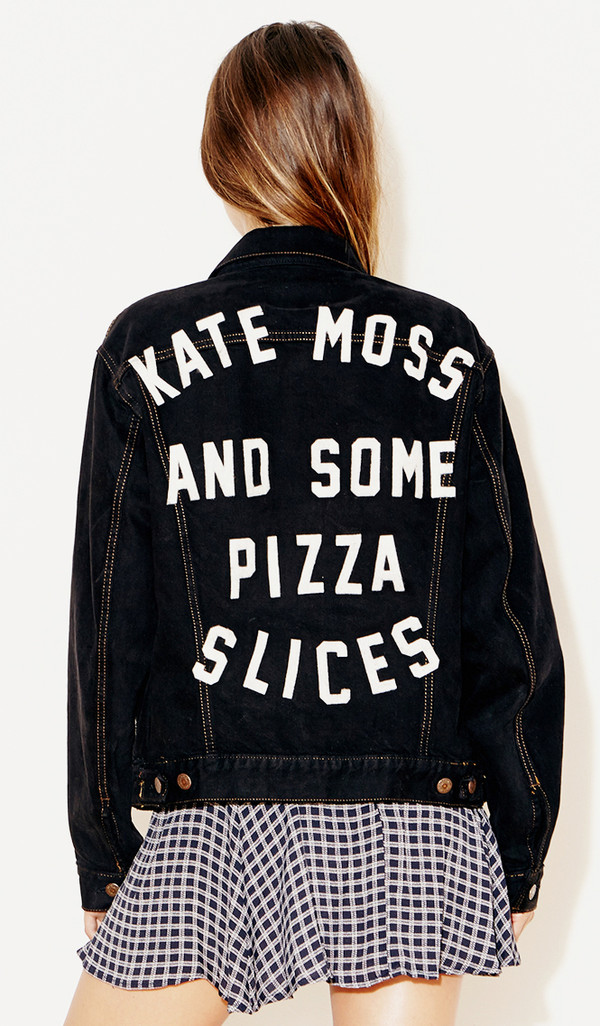 jacket denim jacket kate moss pizza