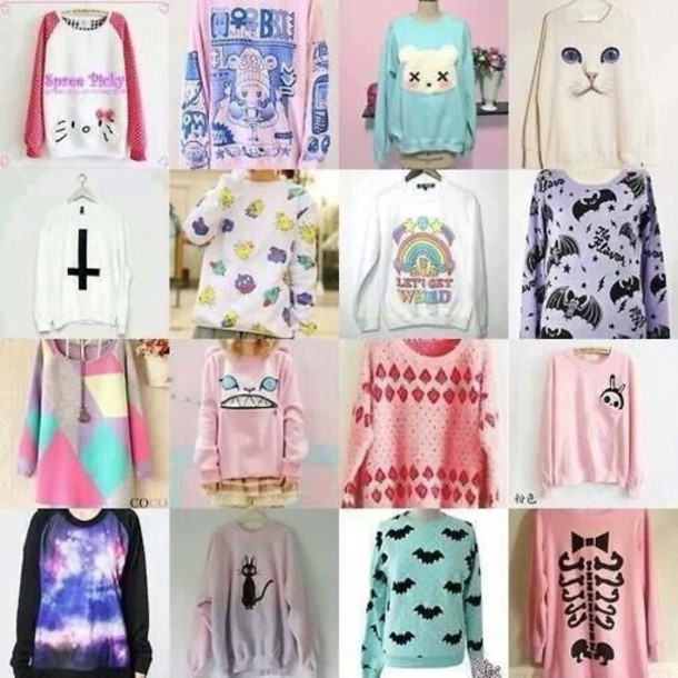 sweater blouse printed sweater cat sweater pastel sweater cross space galaxy print kawaii outfit polyvore