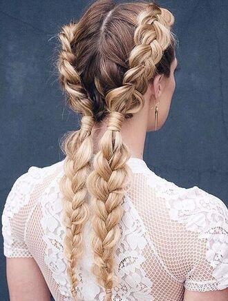 hair accessory boxer braid braid hairstyles top white top lace top wedding hairstyles romantic long hair blonde hair