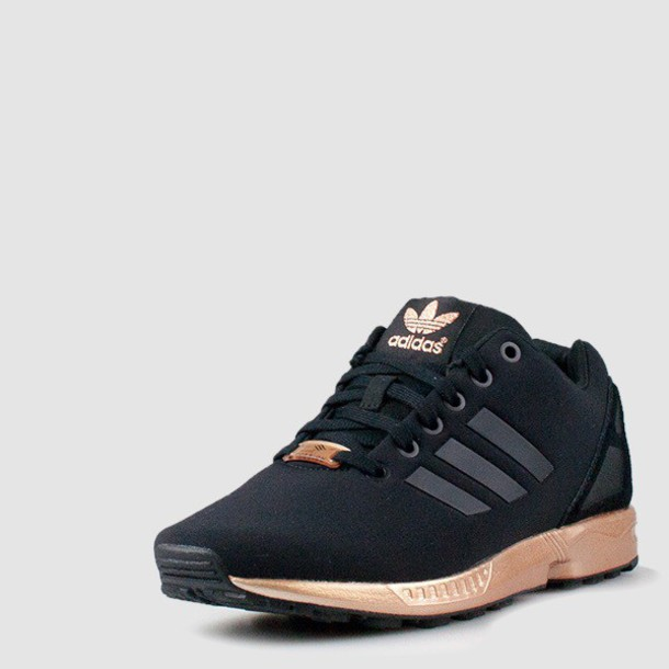 shoes, adidas shoes, adidas rose gold zx flux, adidas, adidas zx flux, black sneakers, black, gold, adiddas, black and gold adidas flux, low top sneakers - ...