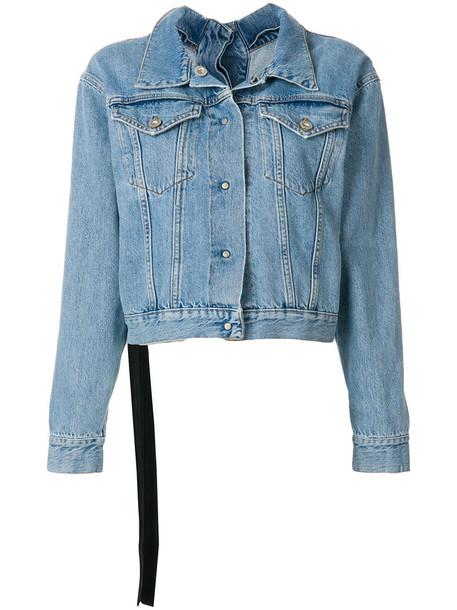 Unravel Project jacket denim jacket denim cropped women cotton blue