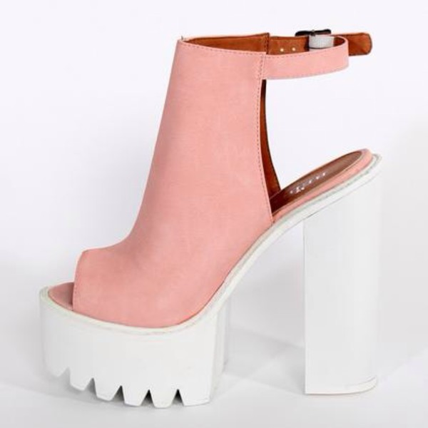 dc116449d899 Mollie Ankle Strap Peep Toe Chunky Platform Boots In Pink