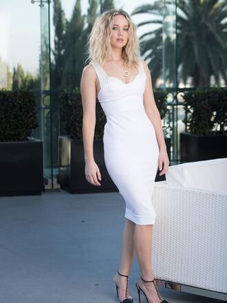 dress white white dress pumps bodycon dress jennifer lawrence editorial shoes