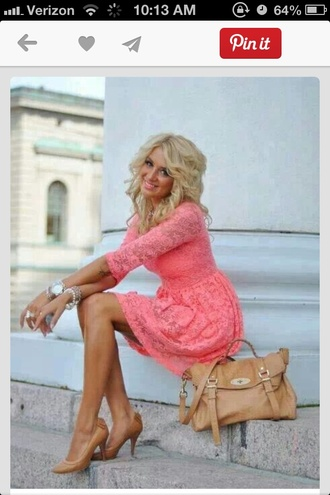 dress coral dress lace cardigan