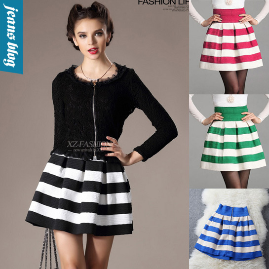 new women 2013 winter polyester ball gown short skirt hit color stitching texture wild waist  fashion MEF 6210-in Skirts from Apparel & Accessories on Aliexpress.com