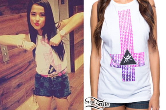 shirt white tank upside down cross becky g swag white t-shirt cross High waisted shorts young and reckless young