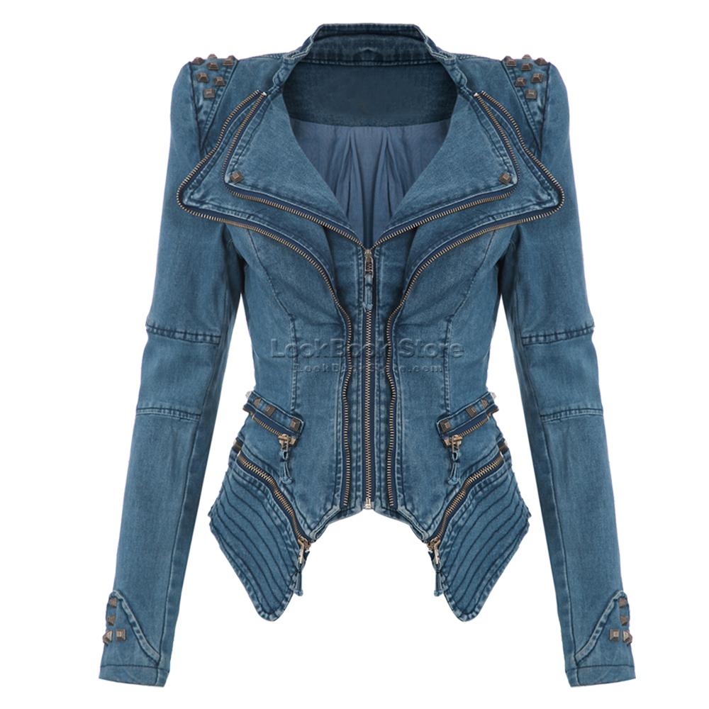 sharp power studded shoulder notched lapel denim jeans. Black Bedroom Furniture Sets. Home Design Ideas