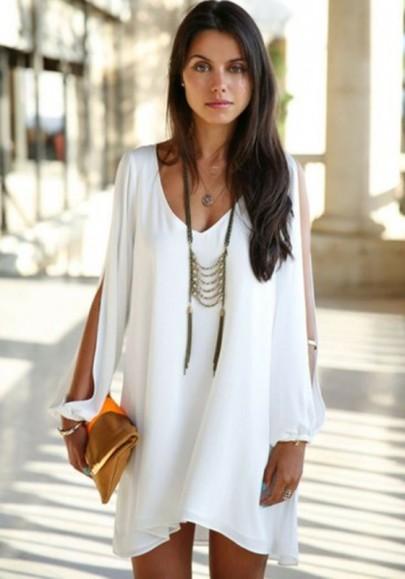 Neck split sleeve chiffon dress