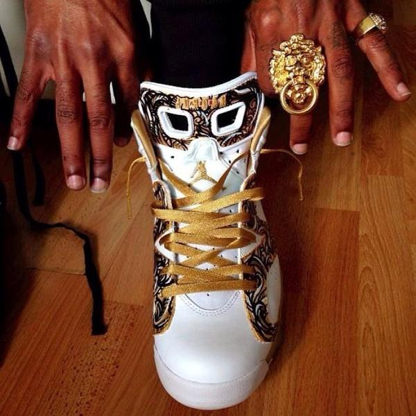 shoes sneakers air jordan 6 air jordan 6 gmp pack white gold