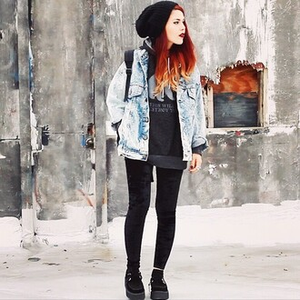 jacket black boots fashion followforfollow follow my instagram like grunge grunge jean jacket