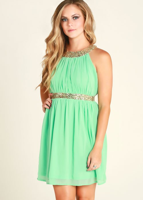 Mint and Gold Sequin Open Back Dress
