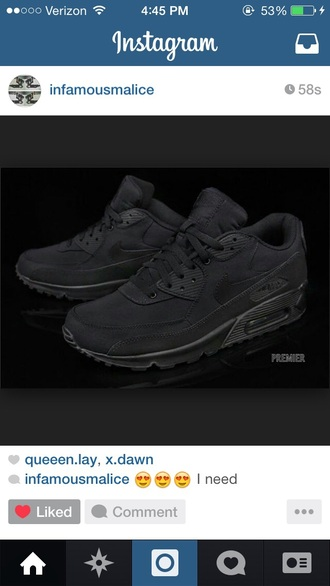 shoes black sneakers nike air force maxis air max sneakers dope swag
