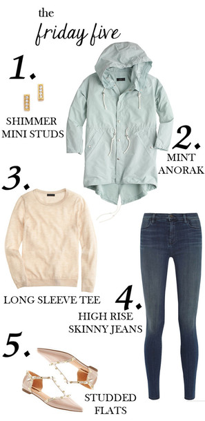 m loves m blogger aqua windbreaker pointed toe studded shoes t-shirt jeans coat