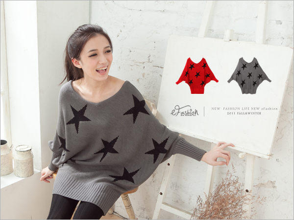 YESSTYLE: eFashion- Dolman-Sleeve Star Print Knit Top (Gray - One Size) - Free International Shipping on orders over $150