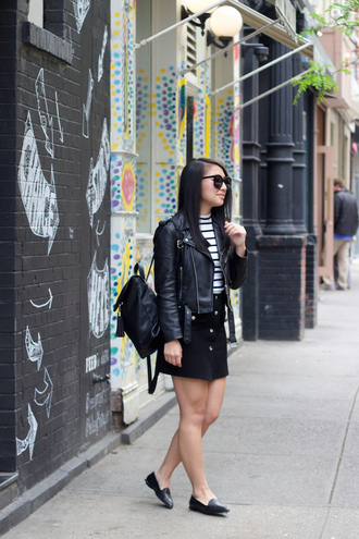 looks by lau blogger sunglasses leather jacket black skirt button up skirt black bag striped top stripes black backpack black flats