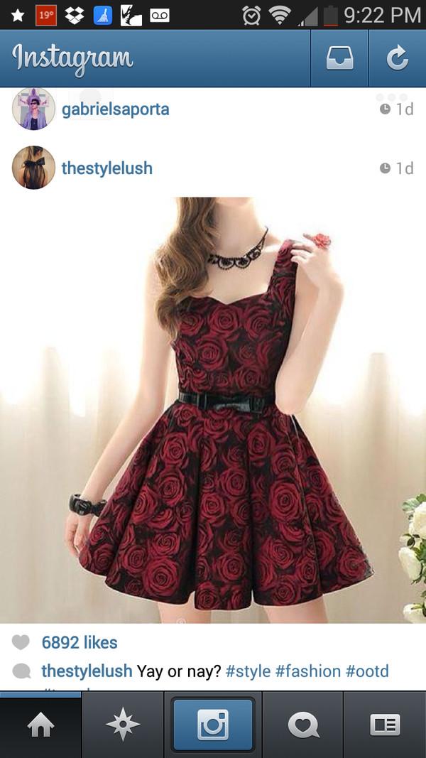 dress rose dress skater dress red dress black dress with red roses and a black belt