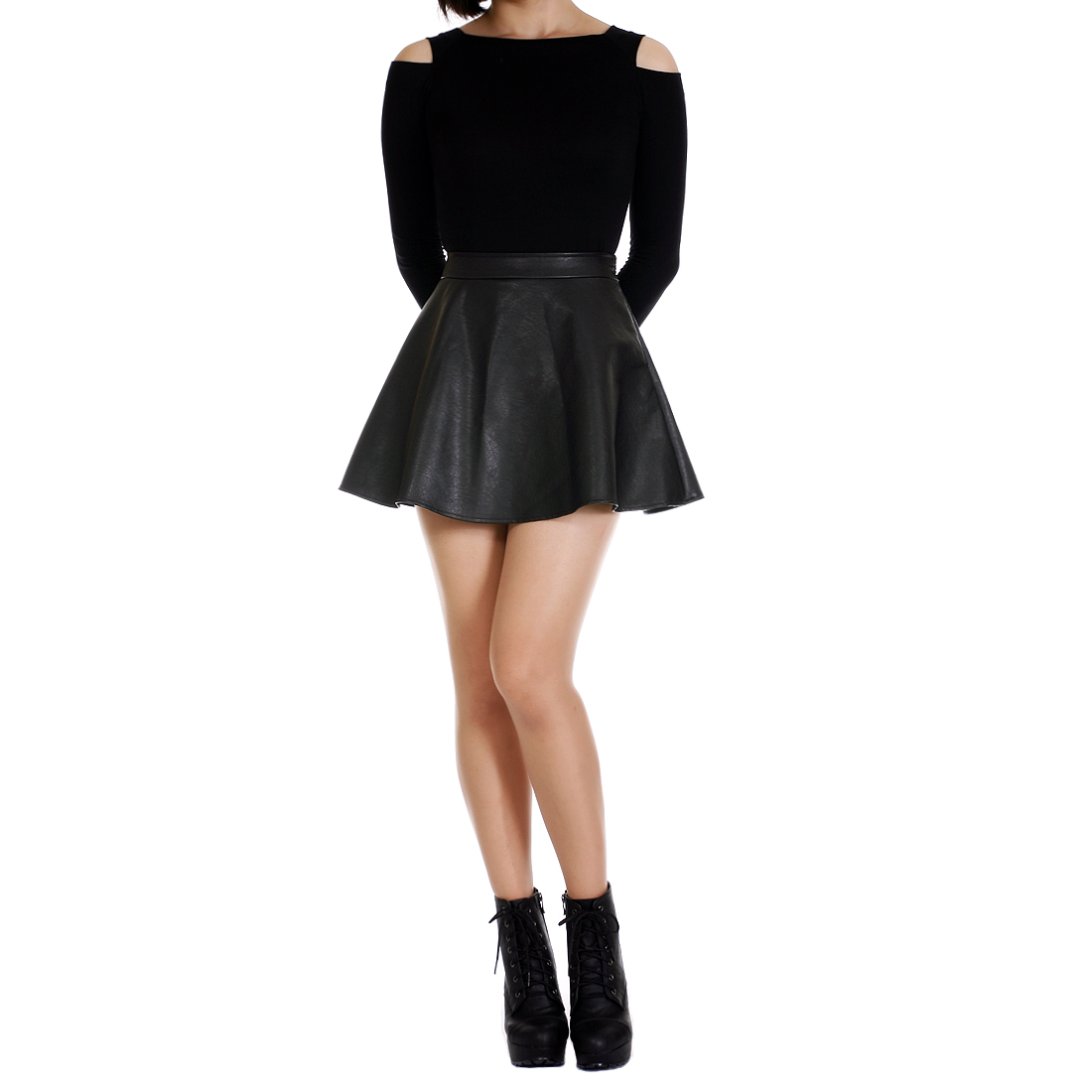 Chic Synthetic Leather Skater Skirt Dani's Choice