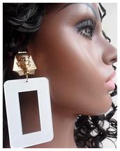 jewels,egyptian earrings,large earrings,diva,king tut,rectangle earrings,basketball wives,gold earrings