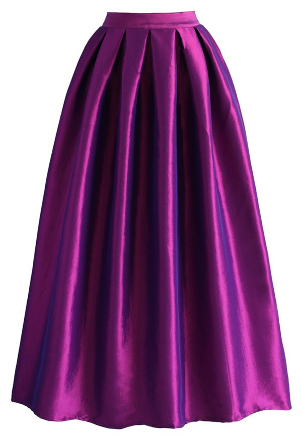 skirt chicwish la diva pleated maxi full skirt violet