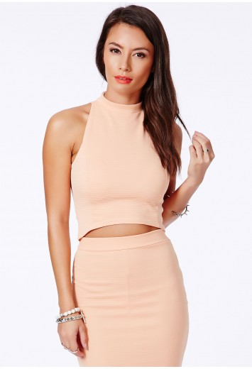 Lacey high neck ribbed crop top in peach