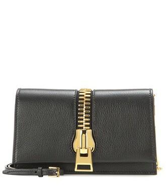 zip bag shoulder bag leather black